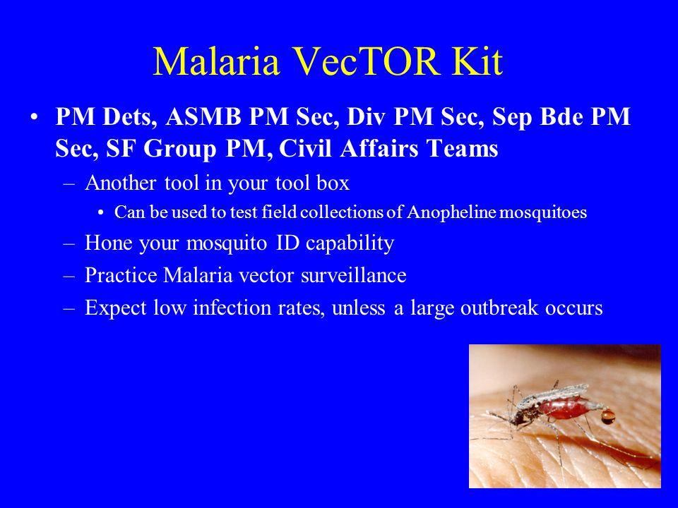 Malaria VecTOR Kit PM Dets, ASMB PM Sec, Div PM Sec, Sep Bde PM Sec, SF Group PM, Civil Affairs Teams.