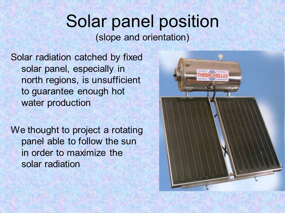 Solar panel position (slope and orientation)