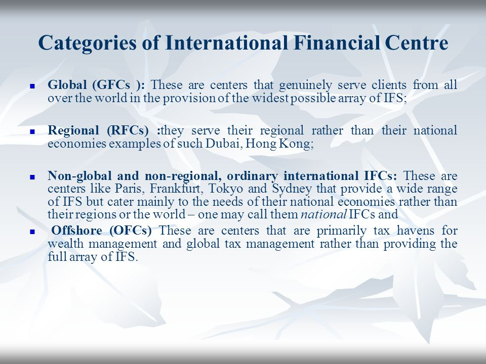 Categories of International Financial Centre