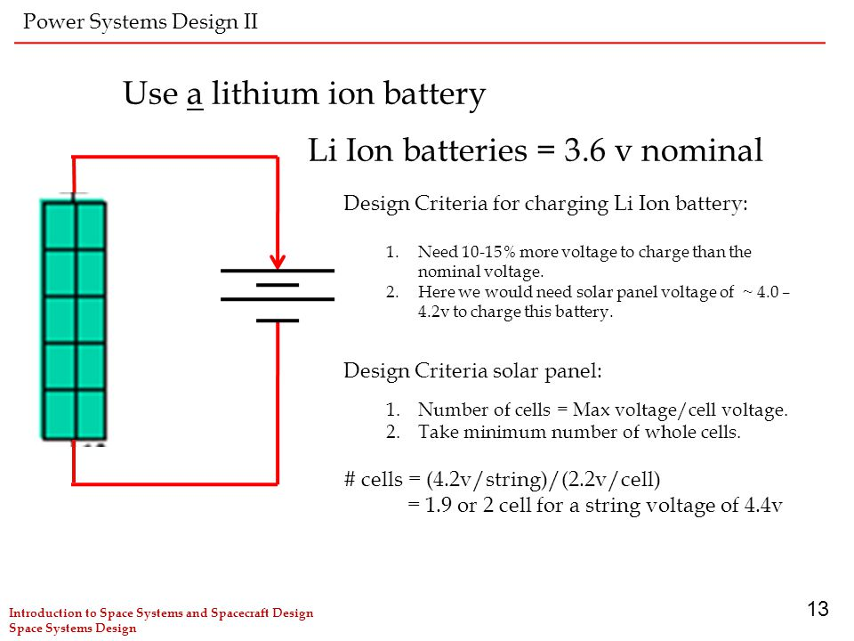 Use a lithium ion battery