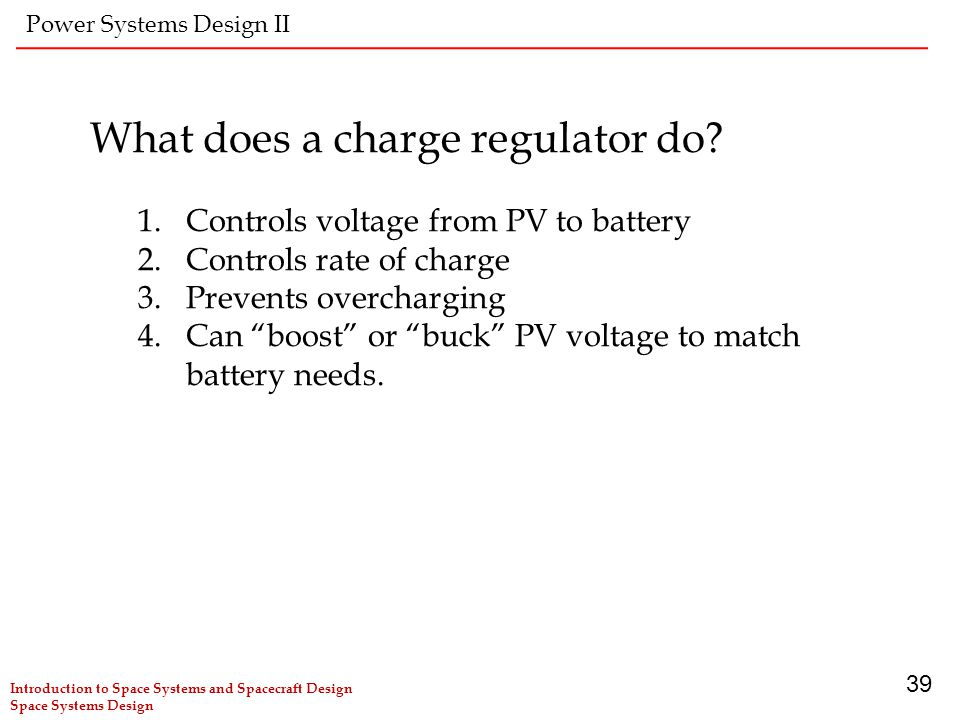 What does a charge regulator do