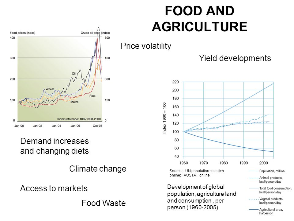 FOOD AND AGRICULTURE Price volatility Yield developments