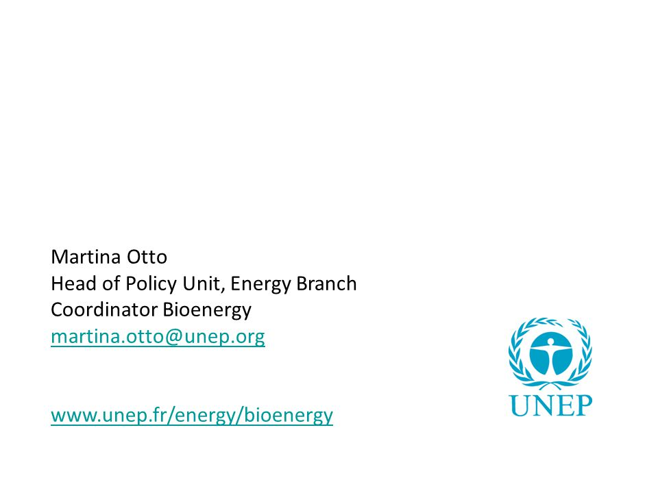 Martina Otto Head of Policy Unit, Energy Branch. Coordinator Bioenergy.