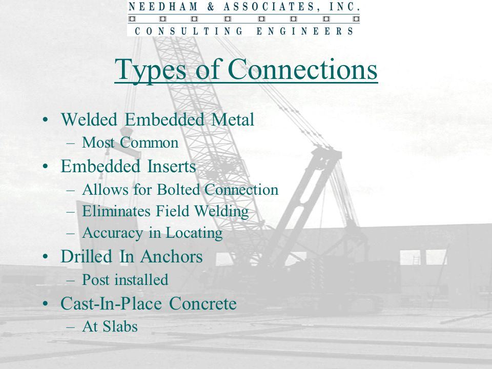 Types of Connections Welded Embedded Metal Embedded Inserts
