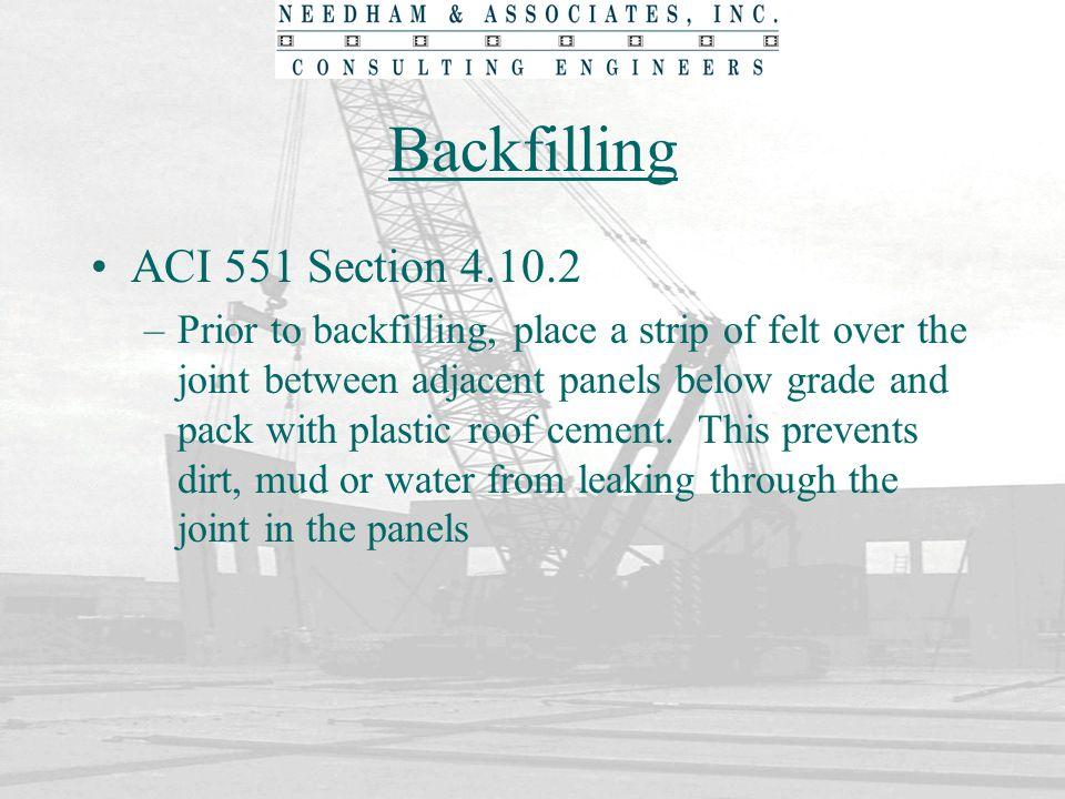 Backfilling ACI 551 Section 4.10.2