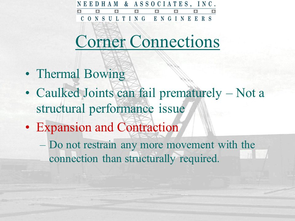 Corner Connections Thermal Bowing