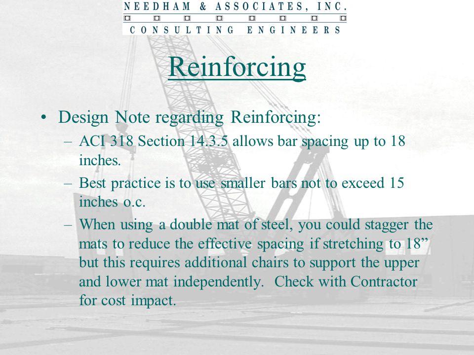 Reinforcing Design Note regarding Reinforcing: