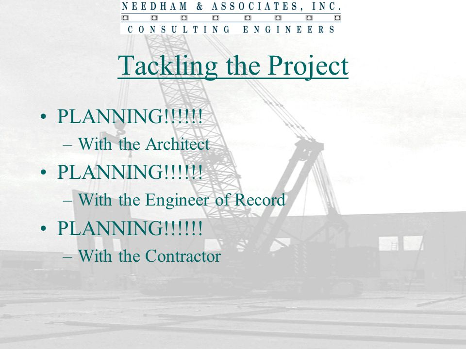 Tackling the Project PLANNING!!!!!! With the Architect