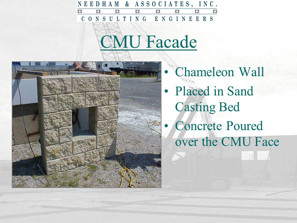 CMU Facade Chameleon Wall Placed in Sand Casting Bed