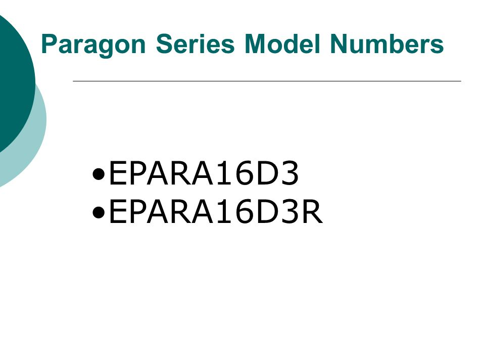 Paragon Series Model Numbers