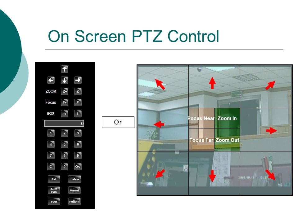 On Screen PTZ Control PTZ Control Panel Or Focus Near Focus Far