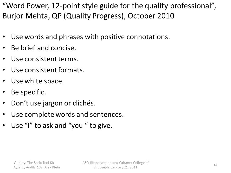 Word Power, 12-point style guide for the quality professional , Burjor Mehta, QP (Quality Progress), October 2010