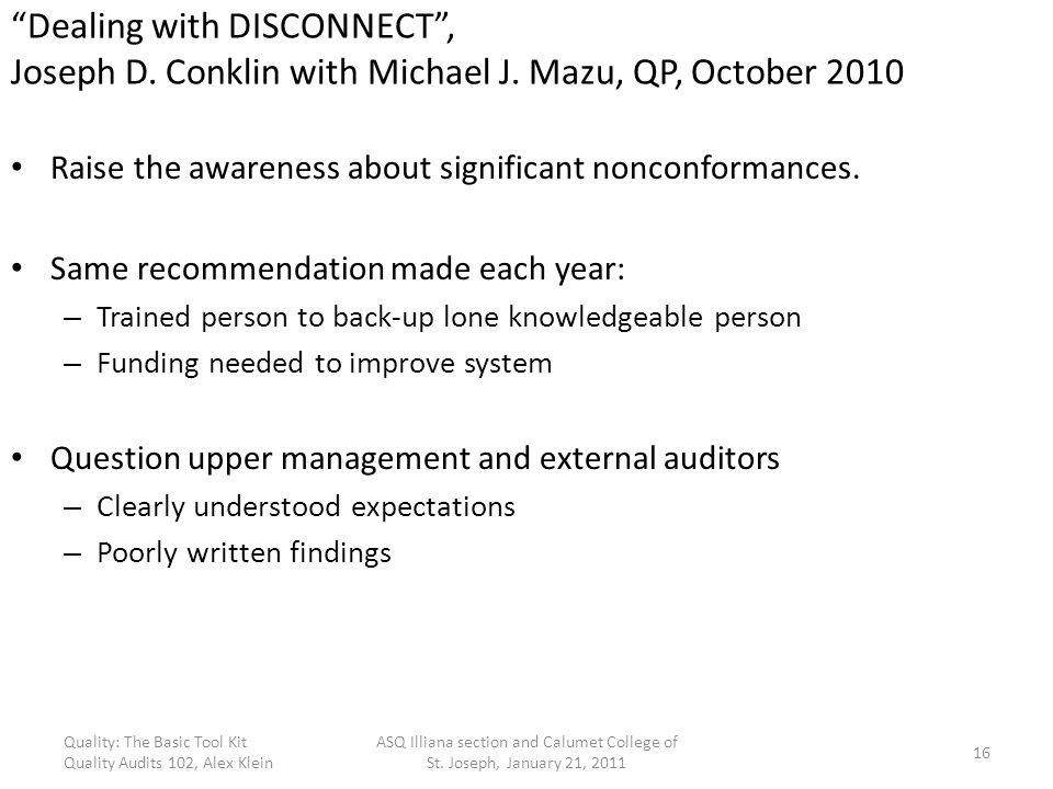 Dealing with DISCONNECT , Joseph D. Conklin with Michael J