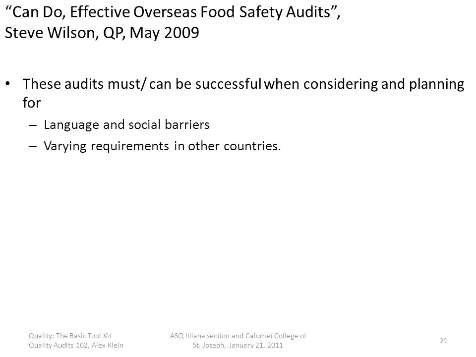 Can Do, Effective Overseas Food Safety Audits , Steve Wilson, QP, May 2009