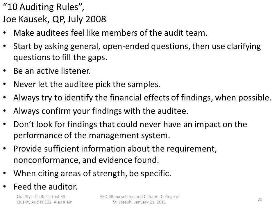 10 Auditing Rules , Joe Kausek, QP, July 2008
