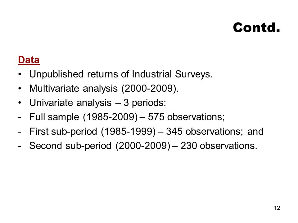 Contd. Data Unpublished returns of Industrial Surveys.
