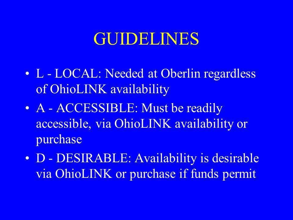 GUIDELINES L - LOCAL: Needed at Oberlin regardless of OhioLINK availability.