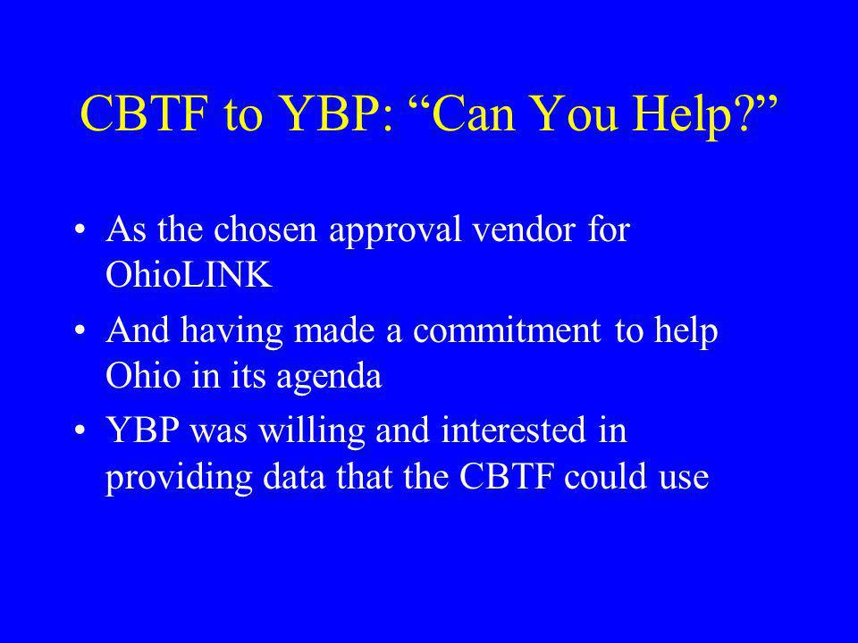CBTF to YBP: Can You Help