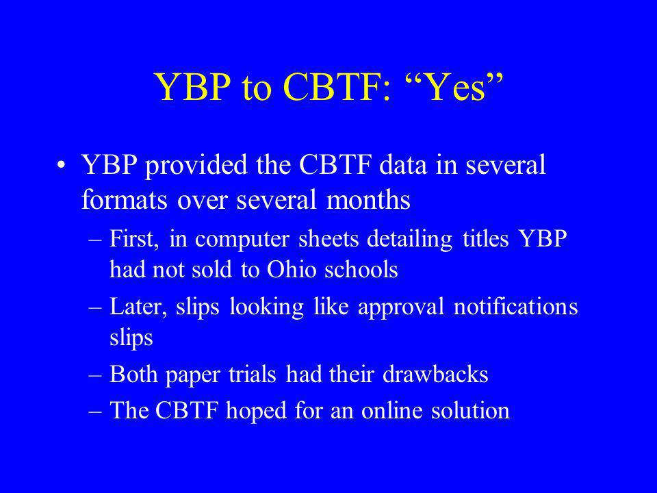 YBP to CBTF: Yes YBP provided the CBTF data in several formats over several months.
