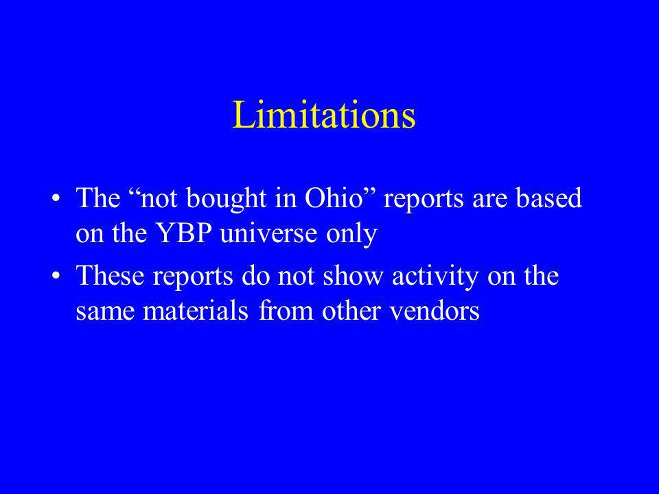 Limitations The not bought in Ohio reports are based on the YBP universe only.