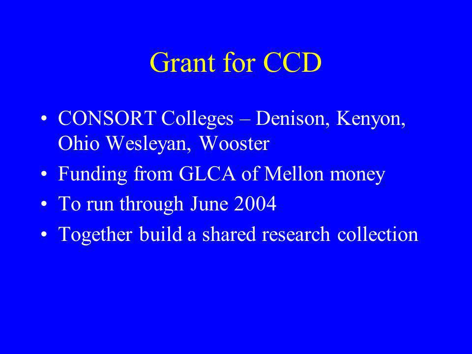 Grant for CCD CONSORT Colleges – Denison, Kenyon, Ohio Wesleyan, Wooster. Funding from GLCA of Mellon money.