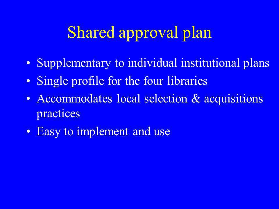 Shared approval plan Supplementary to individual institutional plans