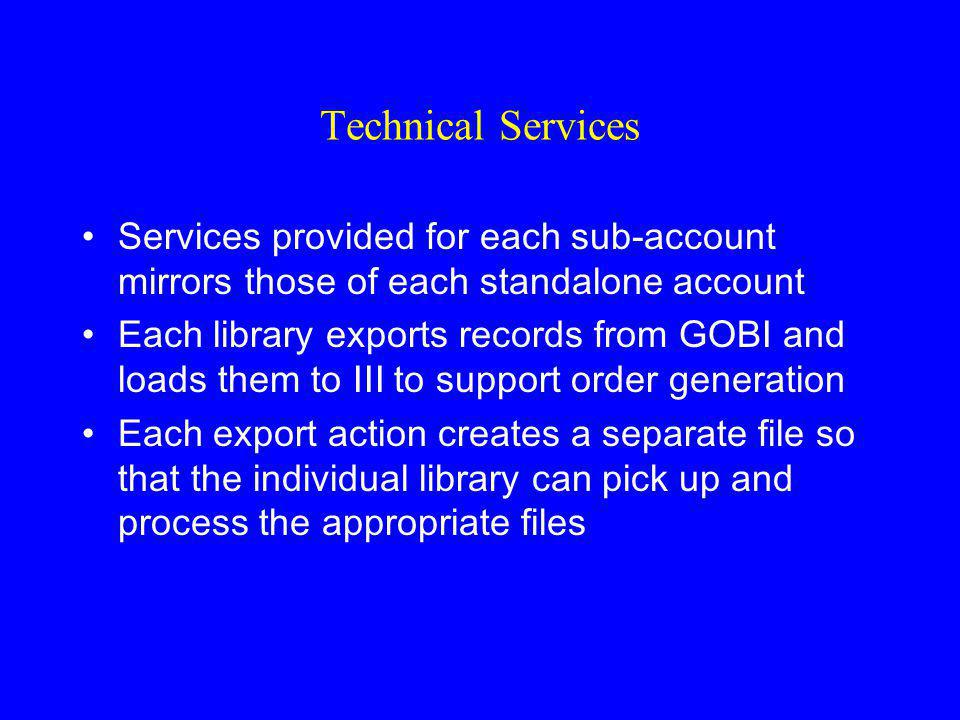 Technical Services Services provided for each sub-account mirrors those of each standalone account.