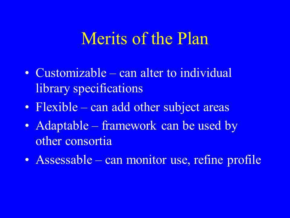 Merits of the Plan Customizable – can alter to individual library specifications. Flexible – can add other subject areas.