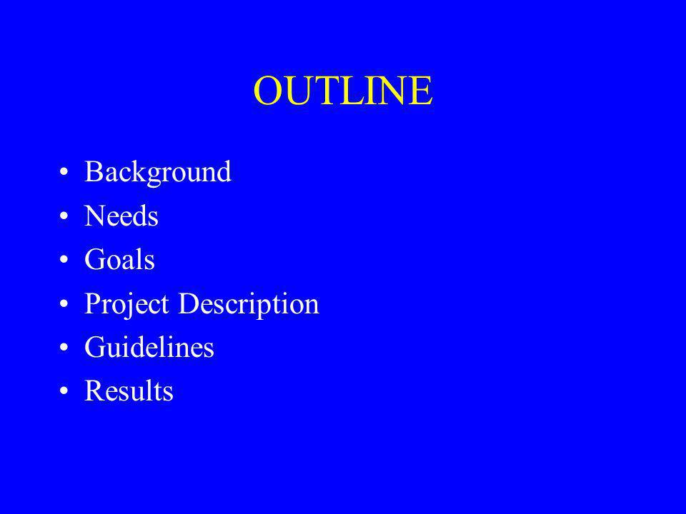 OUTLINE Background Needs Goals Project Description Guidelines Results