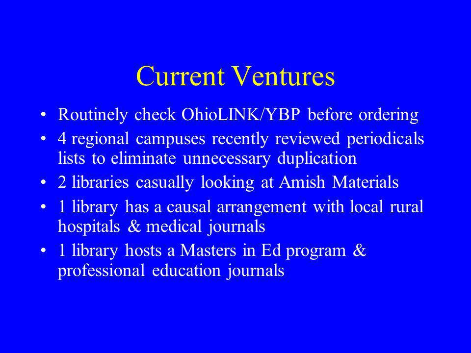 Current Ventures Routinely check OhioLINK/YBP before ordering