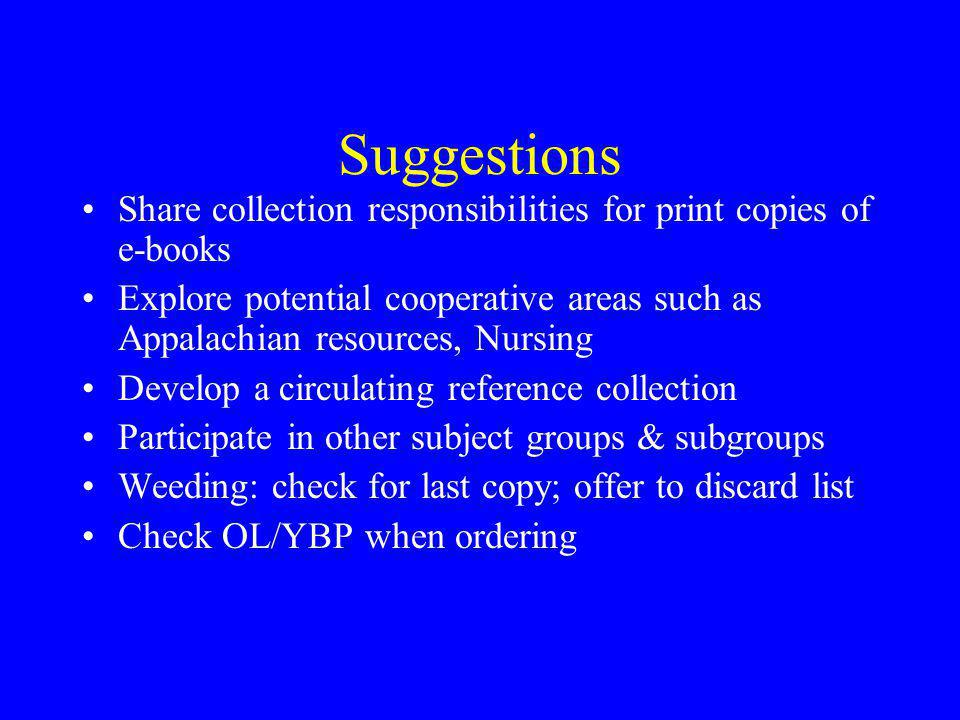 Suggestions Share collection responsibilities for print copies of e-books.