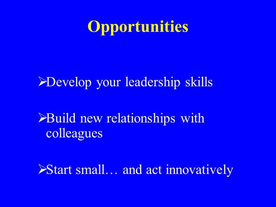 Opportunities Develop your leadership skills