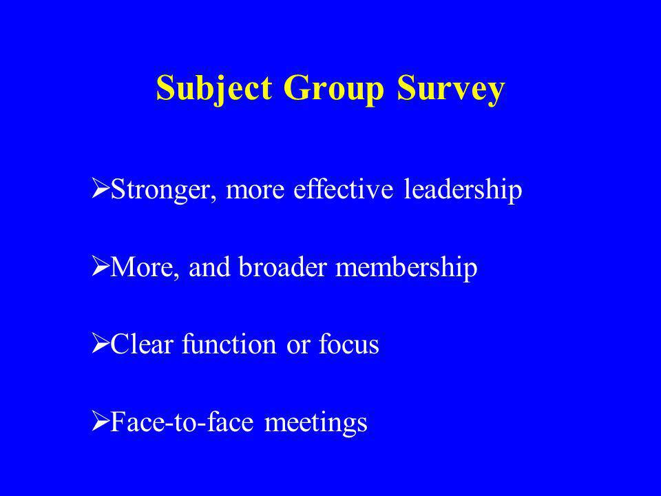 Subject Group Survey Stronger, more effective leadership