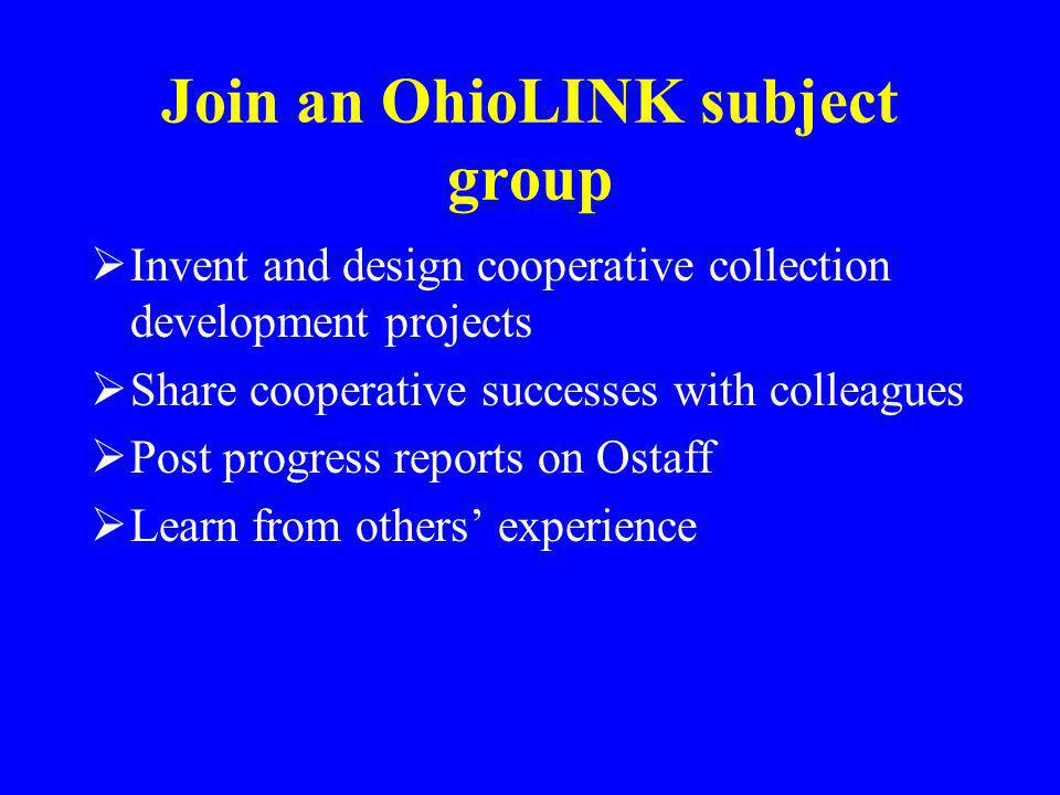 Join an OhioLINK subject group