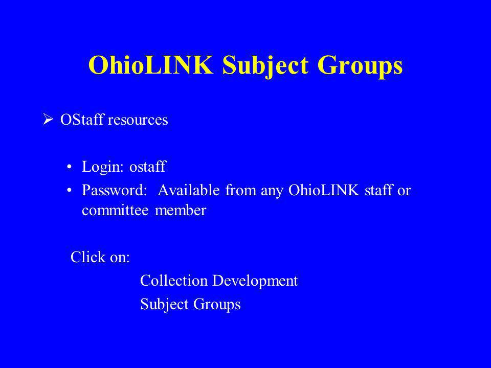 OhioLINK Subject Groups