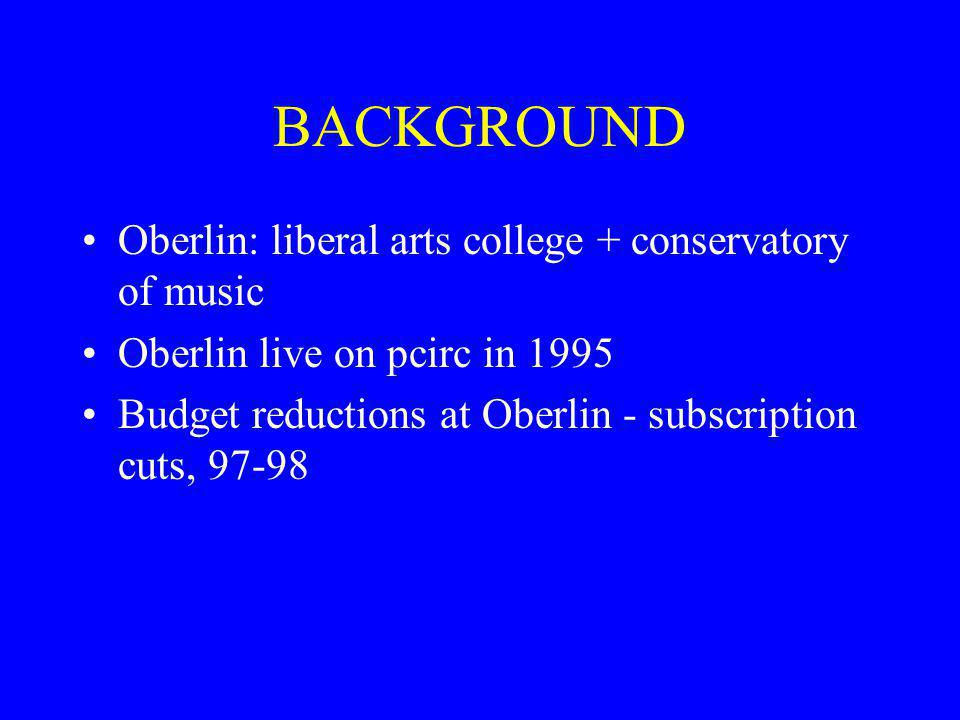 BACKGROUND Oberlin: liberal arts college + conservatory of music