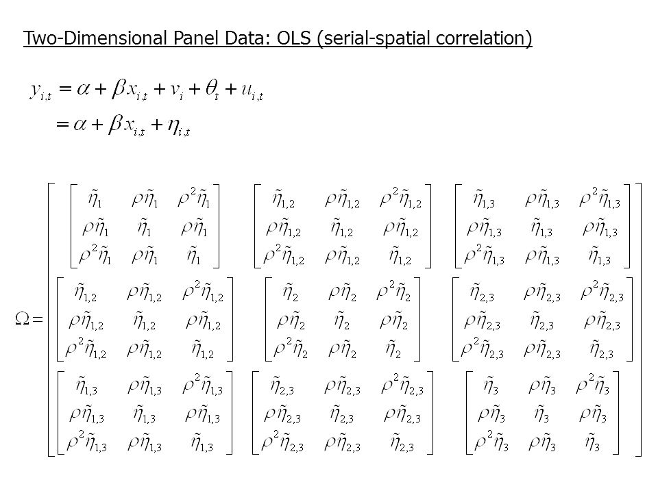 Two-Dimensional Panel Data: OLS (serial-spatial correlation)