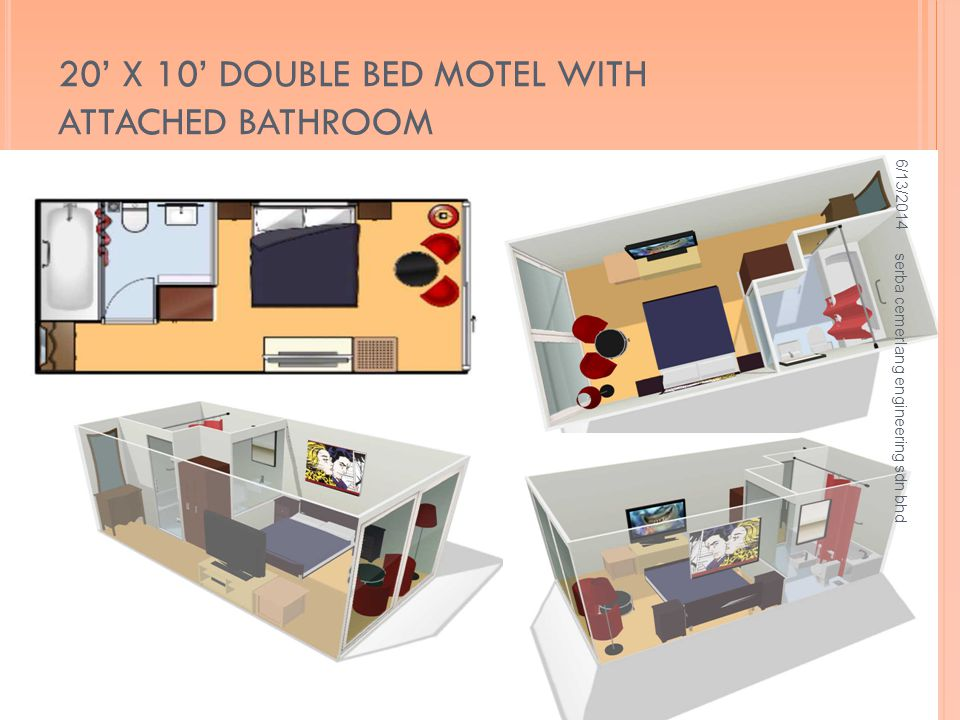 20' X 10' DOUBLE BED MOTEL WITH ATTACHED BATHROOM