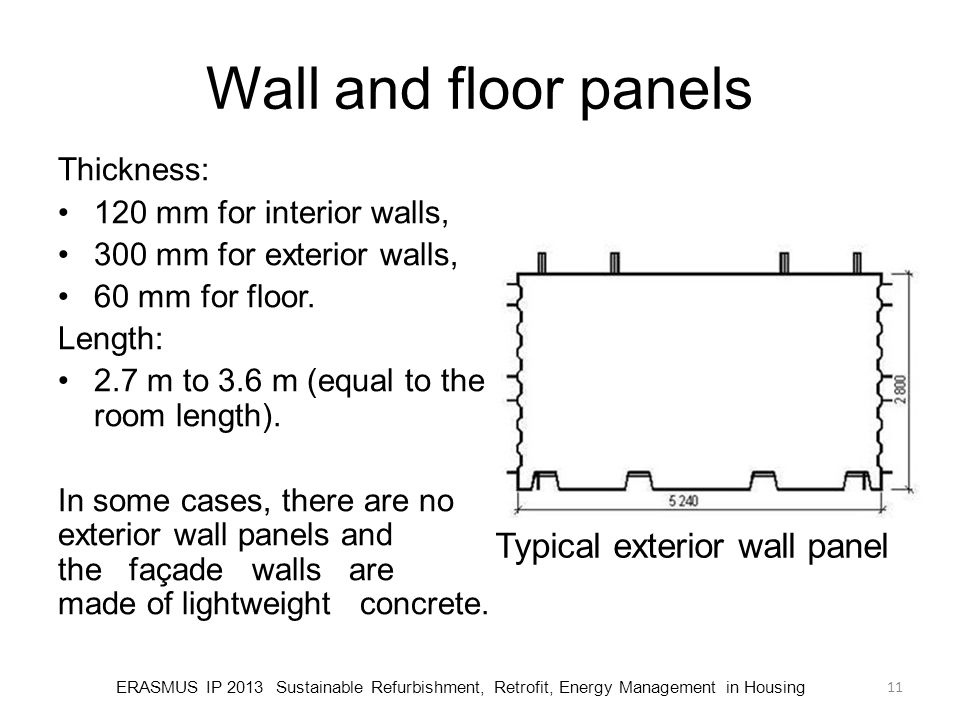 Typical exterior wall panel