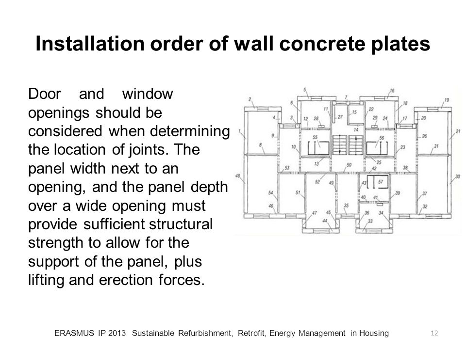 Installation order of wall concrete plates