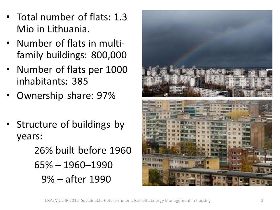 Total number of flats: 1.3 Mio in Lithuania.