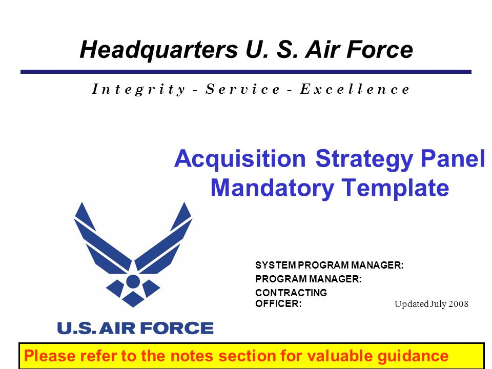 Acquisition Strategy Panel Mandatory Template
