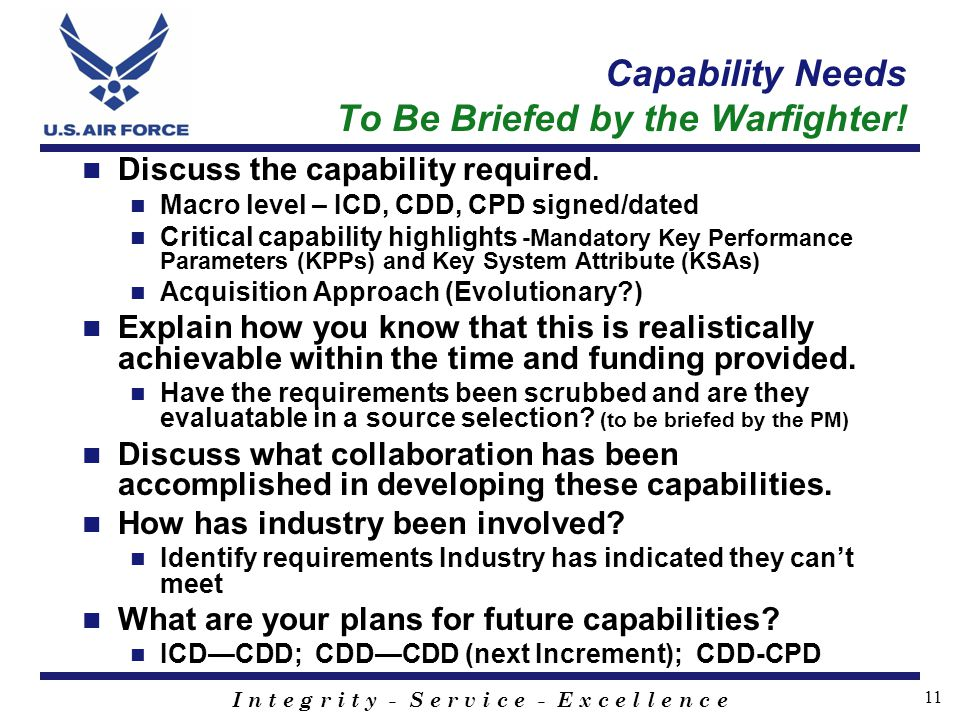 Capability Needs To Be Briefed by the Warfighter!