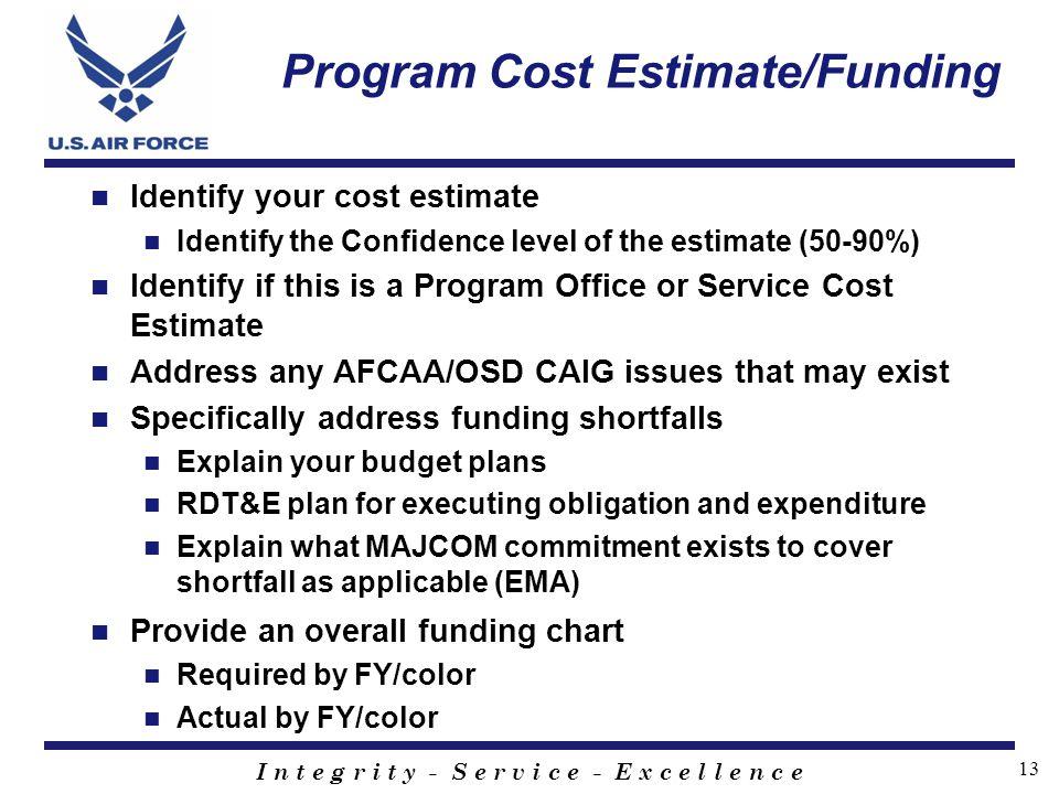 Program Cost Estimate/Funding