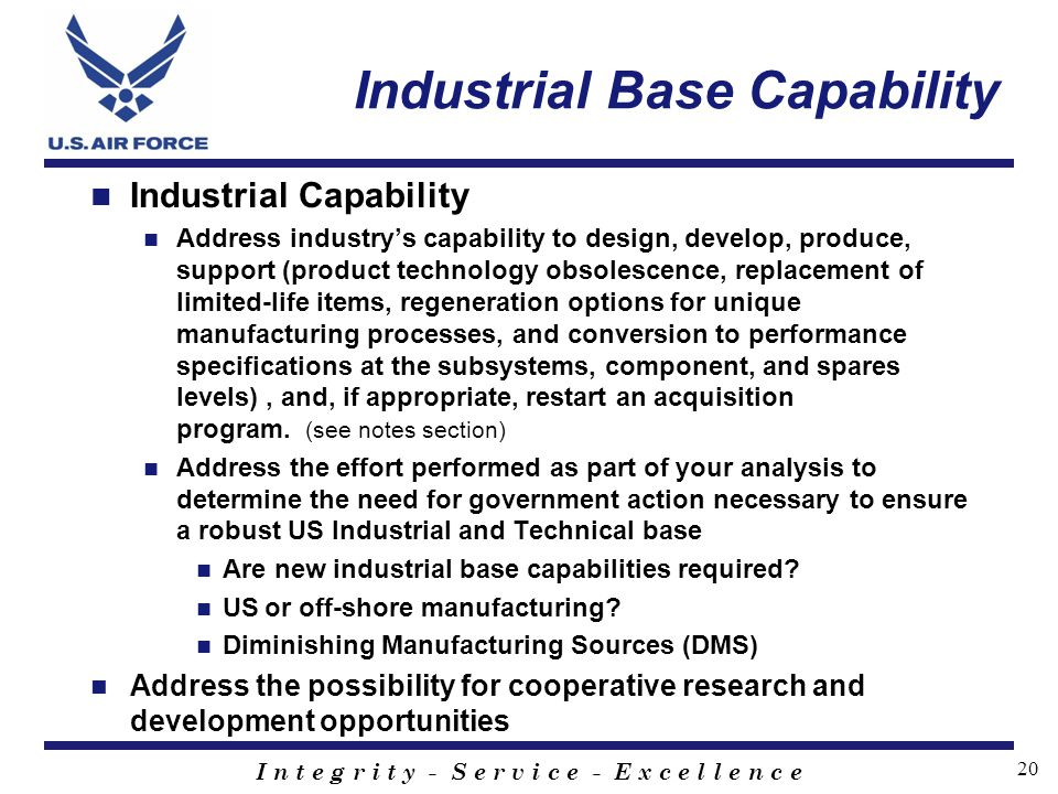 Industrial Base Capability
