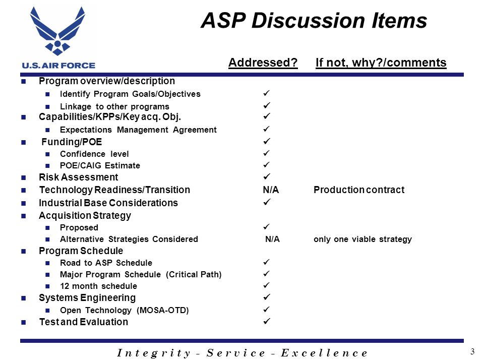 ASP Discussion Items Addressed If not, why /comments