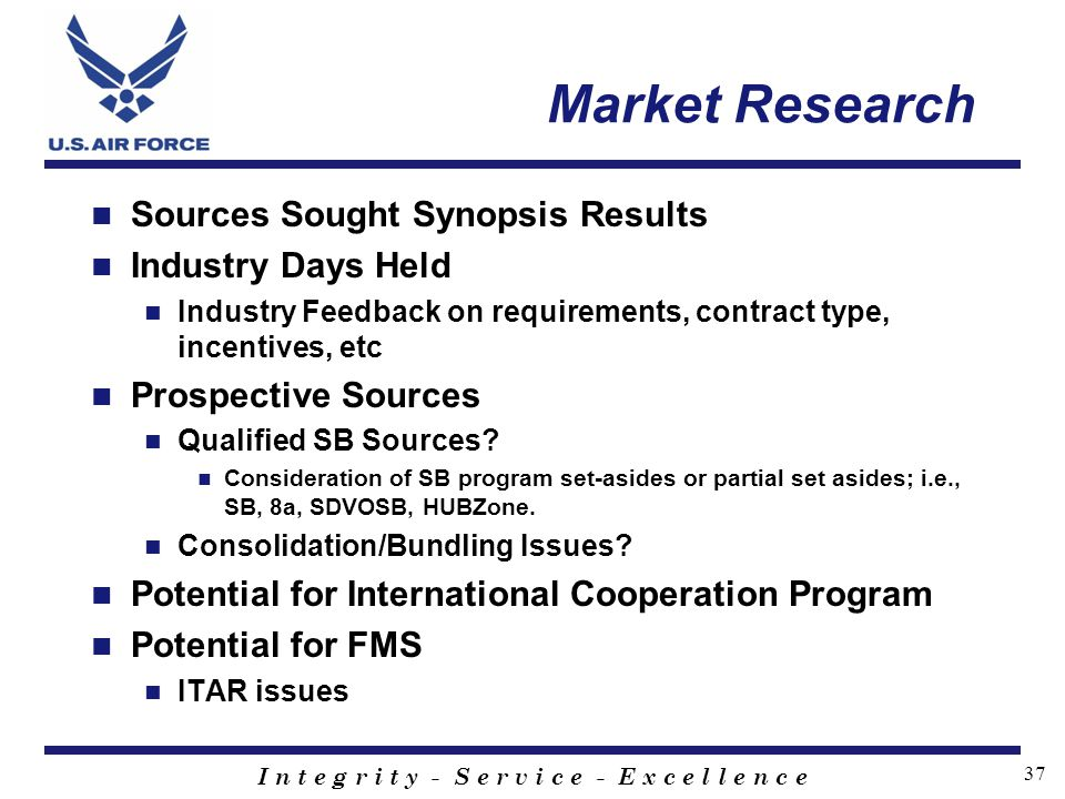 Market Research Sources Sought Synopsis Results Industry Days Held