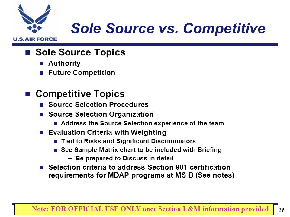 Sole Source vs. Competitive