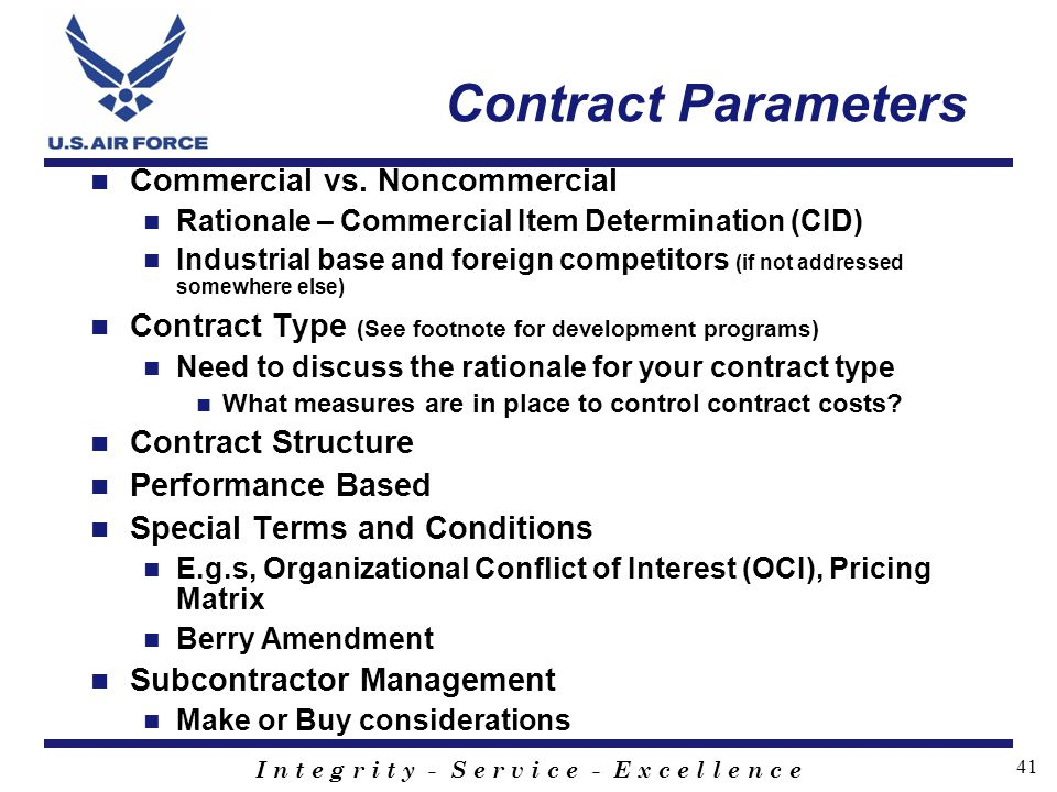 Contract Parameters Commercial vs. Noncommercial