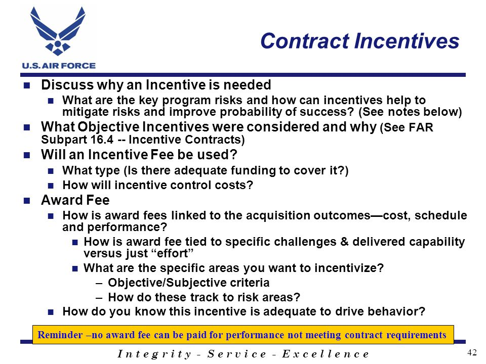 Contract Incentives Discuss why an Incentive is needed